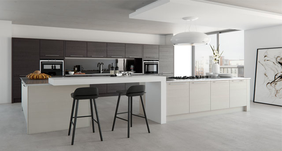 Kitchen Stori Tavola Oak stained Hacienda Black and painted Light Grey