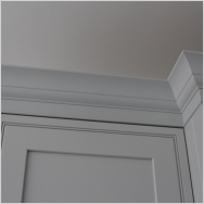 Burbidge Langton Inframe painted in Pale Smoke showing the Cornice Upstand Moulding.