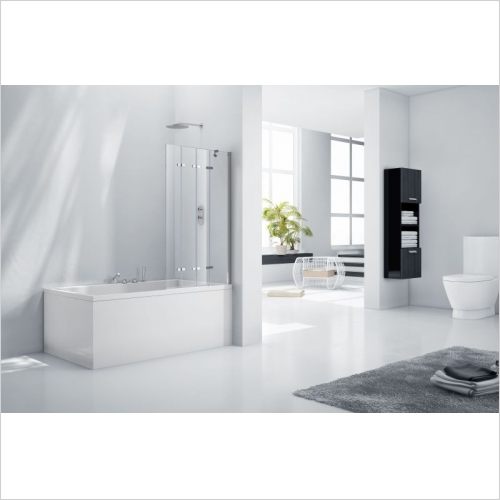 Aquabathe - Aquaglass+ 6mm Frameless 4 Fold Bath Screen 1500 x 965mm LH