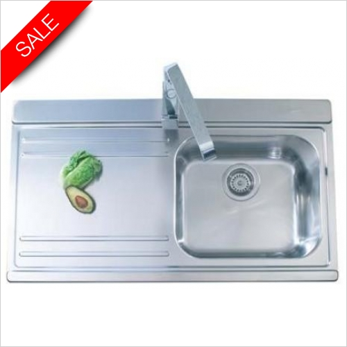 Clearwater Kitchen Sinks - Mirage 1.0 Bowl Sink & Drainer RH Inc Creta Tap & Waste