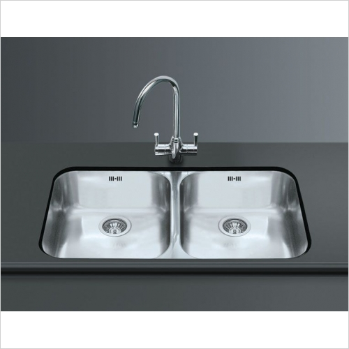 Smeg Sinks - Smeg Alba Undermount Double Bowl Sink 890mm