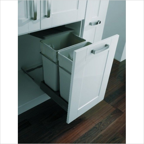 Second Nature Recycling Bins - Pull-Out Waste Bin, 2 x 35 Litre