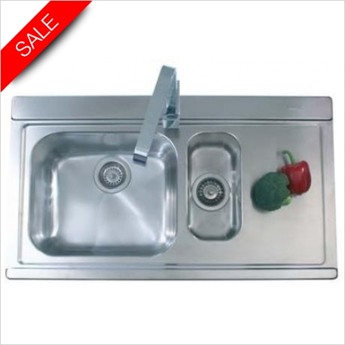 Clearwater Kitchen Sinks - Mirage 1.5 Bowl Sink & Drainer LH Inc Tutti Tap & Waste