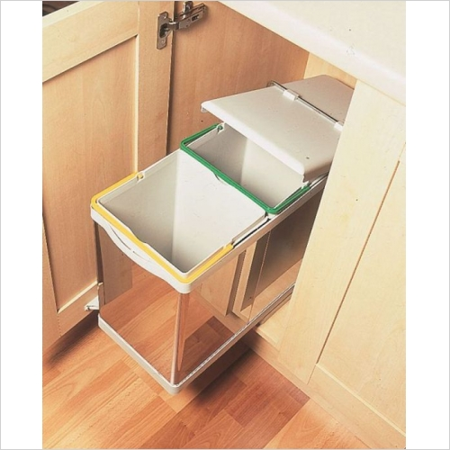 Second Nature Waste Bins - Automatic Pull-Out Double Bin, 28 Litre