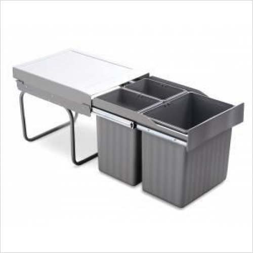 Second Nature Recycling Bins - Pull-Out Waste Bin, 1 x 16 Litre & 2 x 7.5 Litre
