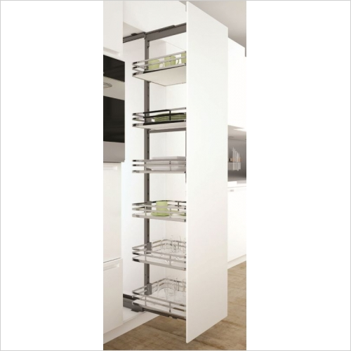 Sige Storage Solutions - Orion Pull-Out Larder 600mm Wide Unit, 1215-1515mm Height