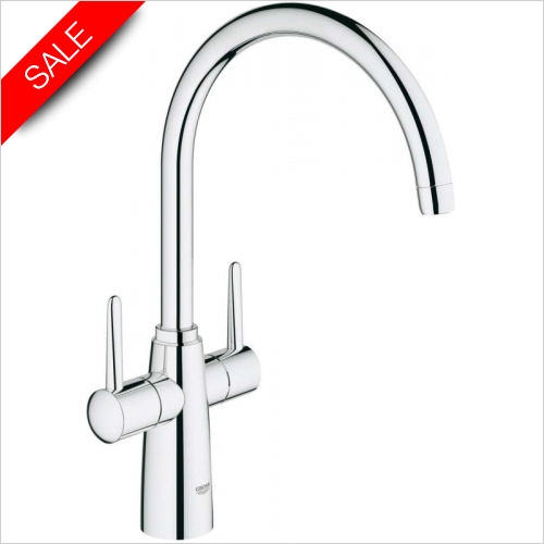 Grohe - Ambi Contemporary Twin Lever Monobloc With Swivel Spout
