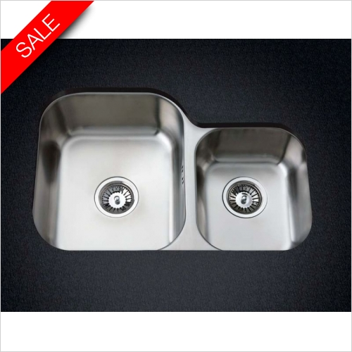 Clearwater Kitchen Sinks - Clearwater Symphony Undermount 1.75 Bowl Sink, Main Bowl-LH