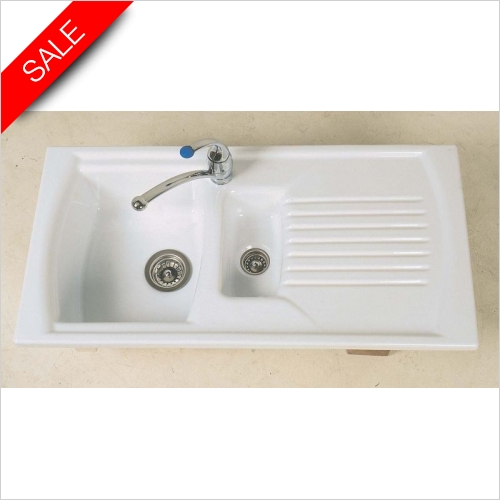 Clearwater Kitchen Sinks - Sonnet Inset 1.5 Bowl Sink & Drainer