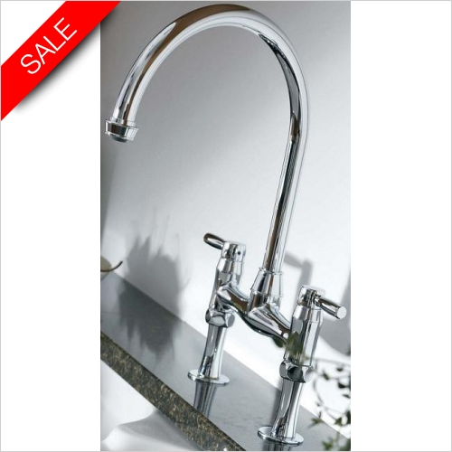 Brompton Dual Lever Bridge Mixer With Independent Handspray
