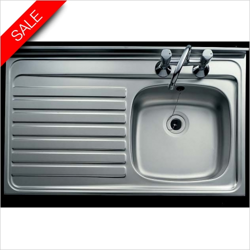 Clearwater Kitchen Sinks - Clearwater Contract Sit-On Square Front 1.0 Sink & Drainer R