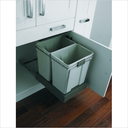 Second Nature Recycling Bins - Pull-Out Waste Bin, 2 x 30 Litre