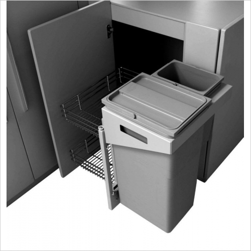 Herbert Direct Recycling Bins - Easy Access Corner Solution With Waste Bins 450-500mm RH