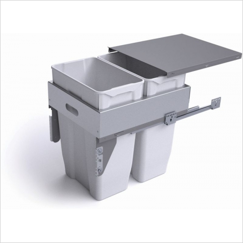 Second Nature Recycling Bins - Pull-Out Waste Bin W/Metal Lid, 2 x 30L Bins For 500mm Cab.