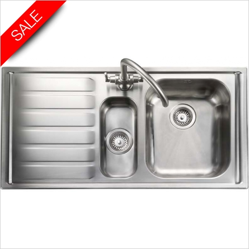 Clearwater Kitchen Sinks - Rangemaster Manhattan 1.5 Bowl & Drainer LH