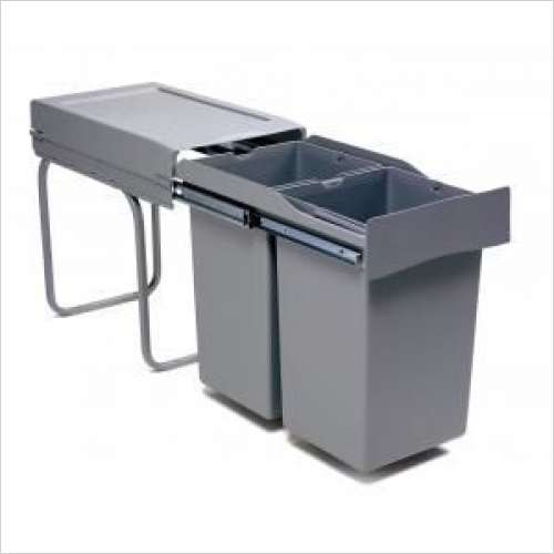 Second Nature Recycling Bins - Pull-Out Waste Bin, 2 x 14 Litre, Full Extension Runners