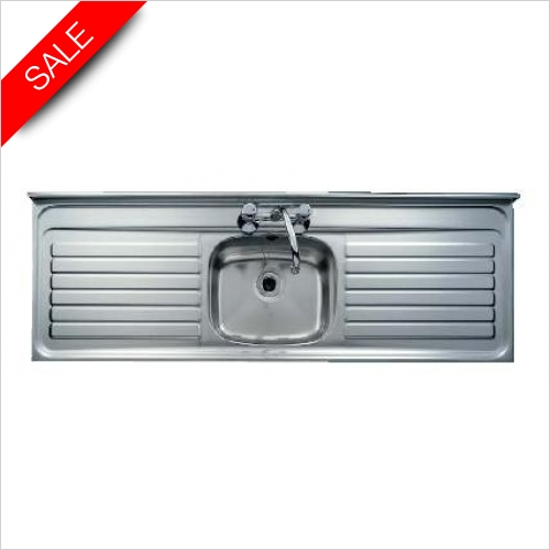 Clearwater Kitchen Sinks - Clearwater Contract 63/21 SF Single Bowl, Double Drainer