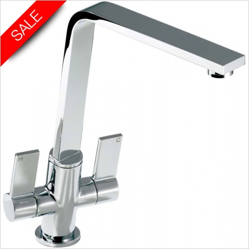Abode - Linear Flair Mono Twin Lever Monobloc With Swivel Spout