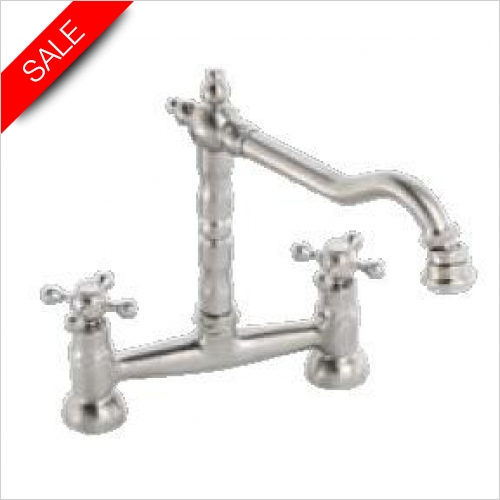 Clearwater Kitchen Taps - Baroc Twin Crosshead Bridge Mixer With Swivel Spout