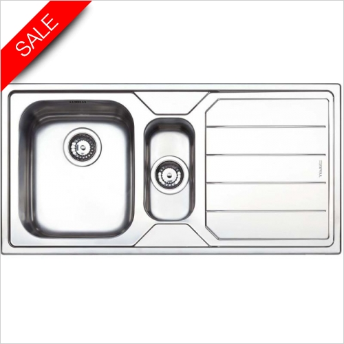 Clearwater Kitchen Sinks - Linear 1.5 Bowl RH Drainer & Elara Tap