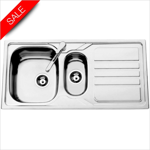 Clearwater Kitchen Sinks - Okio 1.5 Bowl Sink & Drainer Including Vitro Tap & Waste
