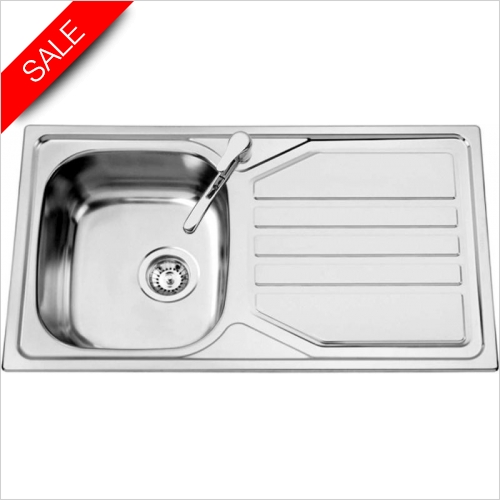 Clearwater Kitchen Sinks - Okio 1.0 Bowl Sink & Drainer Including Vitro Tap & Waste