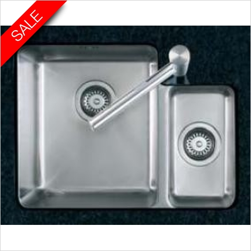 Clearwater Kitchen Sinks - Salsa 1.5 Bowl Sink & Drainer LH Including Tutti Tap & Waste