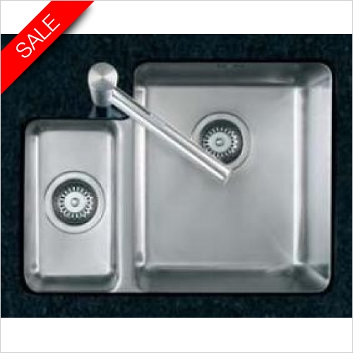 Clearwater Kitchen Sinks - Salsa 1.5 Bowl Sink & Drainer RH Including Tutti Tap & Waste